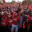 Supporters of presidential candidate Uhuru Kenyatta cheered as he arrived at a rally on Saturday