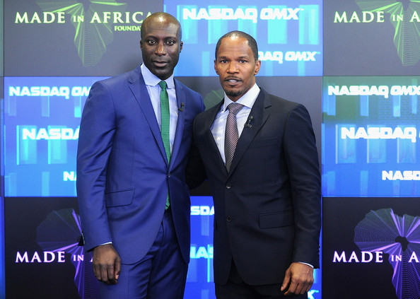 Movie Star Jamie Foxx and London designer Ozwald Boateng at the Nasdaq
