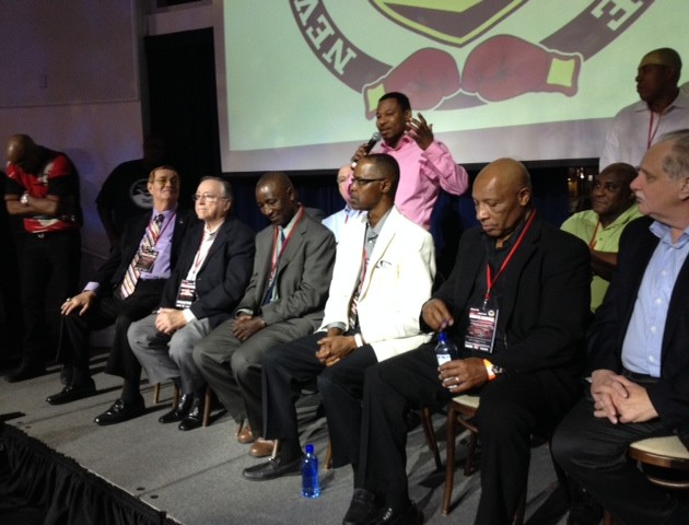 Sugar Shane Mosley addresses fans in the company of boxing legends - Al Bernstein, Richard Steele, Kenny Bayless, Kevin Iole and Ugandan born Cornelius Boza-Edwards in Las Vegas