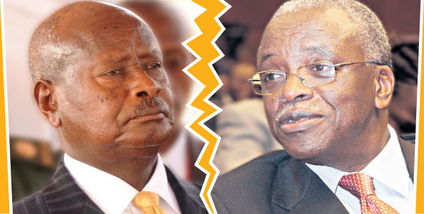 While Amama Mbabazi's (right) sacking was abrupt, the falling out of the two men --President Yoweri Museveni (left) and Mbabazi-- has been a train wreck captured frame-by-frame, blow-by-blow. PHOTOS | FILE
