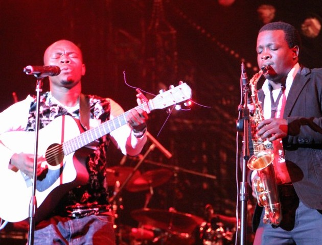 Chamante and Michael Kitanda at the Nile Gold Jazz Safari