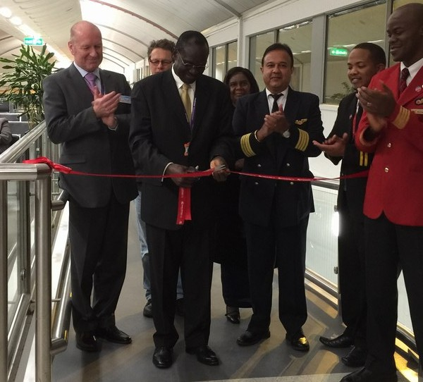 From Tuesday's inaugural Dreamliner B787 flight from London to Nairobi with H.E Mr. Lazarus O. Amayo, MBS, The High Commissioner of Kenya to the United Kingdom cutting the ribbon to launch the flight.