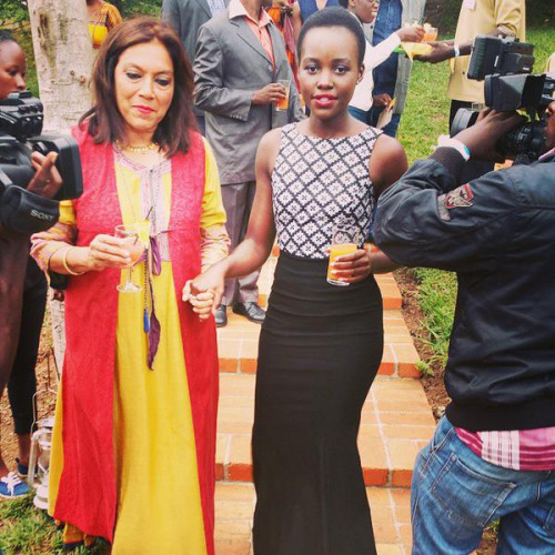 Academy Award winner Lupita Nyong'o and renown director from Mississippi Masala Mira Nair who will also direct Queen of Katwe in Kampala recently.