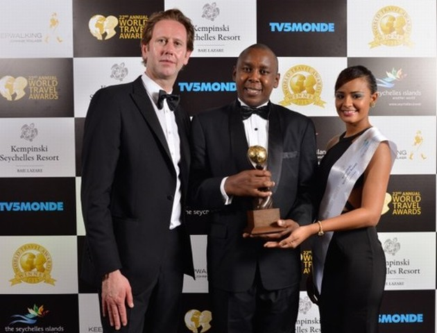 Mr. Anthony Chege General Manager | Kampala Serena Hotel receives the Kampala Serena hotel award in Seychelles.
