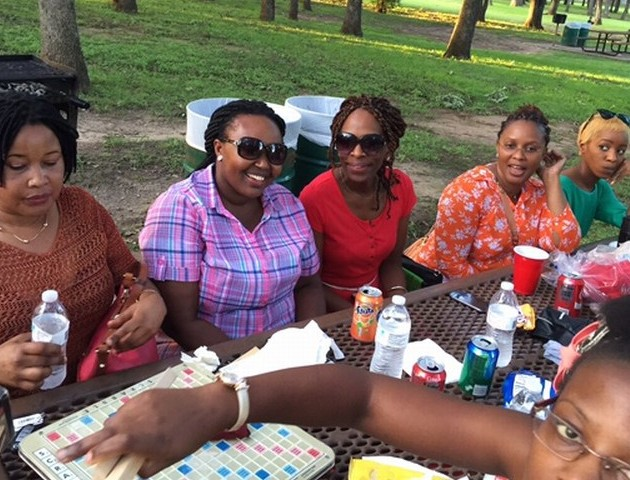 Ugandans and their friends who turned up at the delegate registration drive for the ICOB convention organized by the Dallas ICOB Chapter during an outdoor barbeque picnic at the Chisom Park in Hurst, Texas recently. (Photo courtesy of Samuel Muwanguzi)
