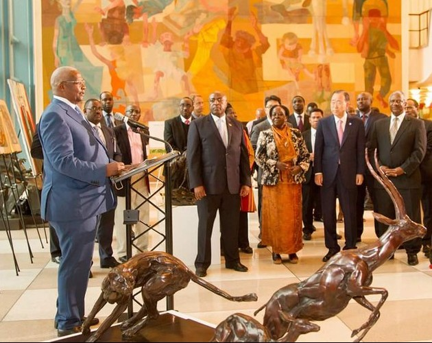 Hon. Sam Kuteesa delivers remarks at the Uganda Art Exhibition held at the UN on September 10th. Looking on is the UN Secretary General and other dignitaries at the UN.