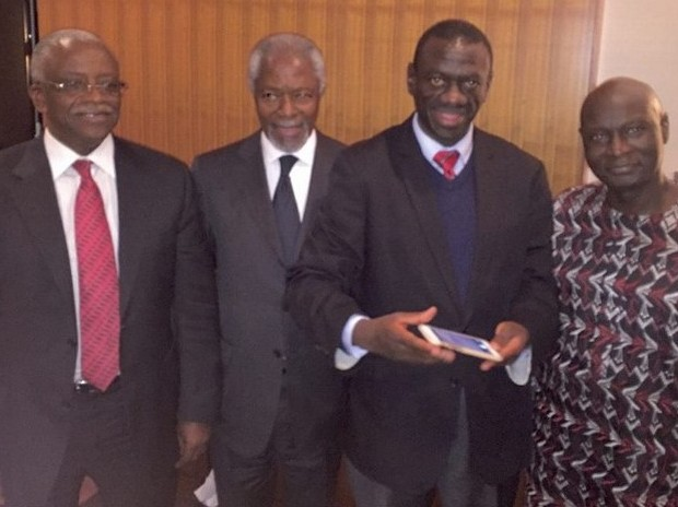 Amama Mbabazi, Kofi Annan, Kiiza Besigye and Olara Otunnu at the London closed door Ugandan opposition meet in London.