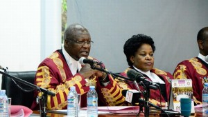 Chief Justice Bart Katureebe delivers the Supreme court ruling today