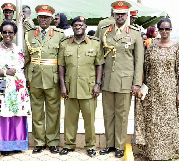 CDF Katumba Wamala in pictures with newly promoted/Rtd UPDF officers and spouses after pipping ceremony at Ministry of Defence, Mbuya - Photo credit Sarah Kagingo