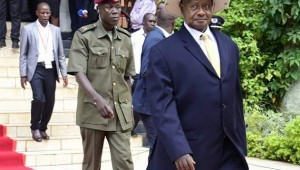 President Museveni soon after delivering the State of the Nation Address 2016 at Kampala Serena Conference Center.