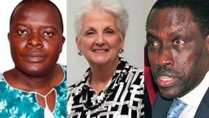 L-R Kintu Nyago, US Ambassador Deborah Malac and James Mugume